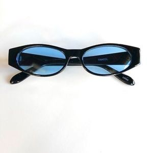 Accessories - BLUE Retro Vintage Geometric Slim Sunglasses